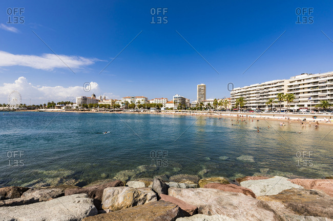 September 13, 2018: France- Provence-Alpes-Cote d'Azur- Saint-Raphael- beach and hotels