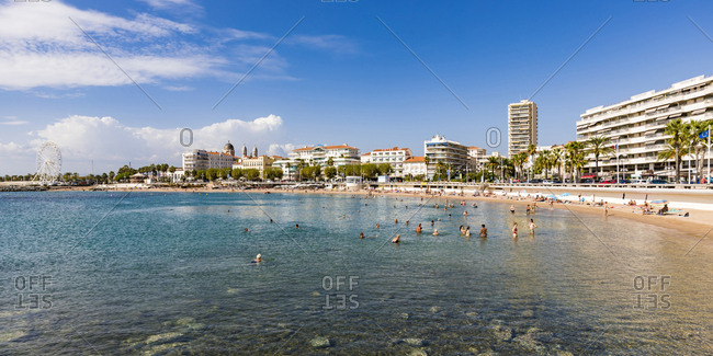 September 13, 2018: France- Provence-Alpes-Cote d'Azur- Saint-Raphael- Panoramic view of beach and hotels