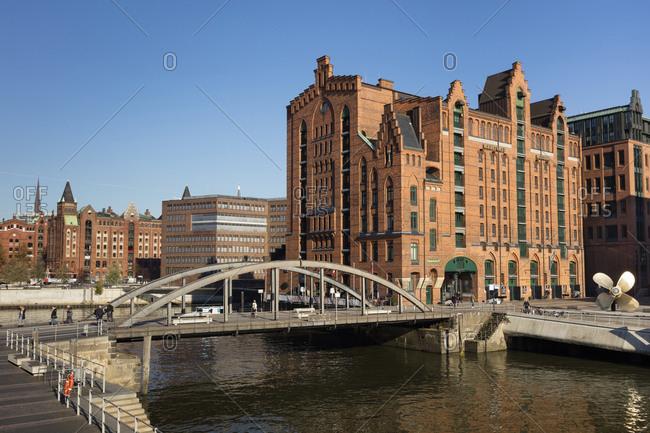 November 3, 2018: Germany- Hamburg- Speicherstadt- International Maritime Museum- Busan bridge