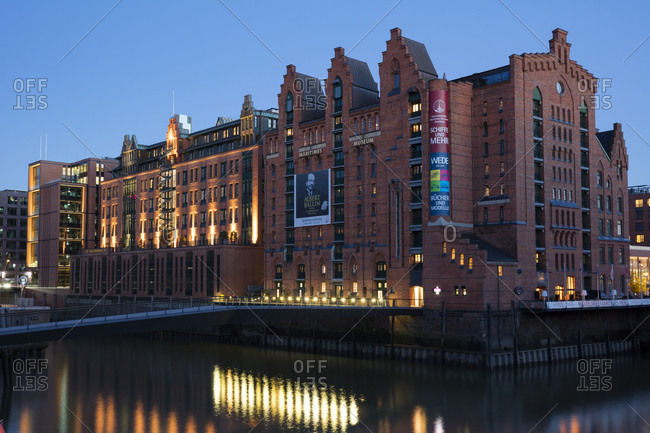 November 3, 2018: Germany- Hamburg- Speicherstadt- International Maritime Museum at dusk