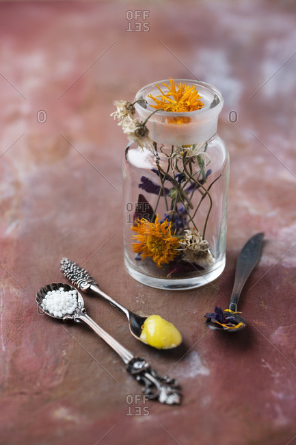 Blossoms of medical plants- medicine flask- marigold salve and globules