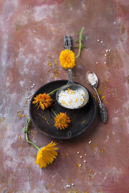 Dried marigold blossoms and globules