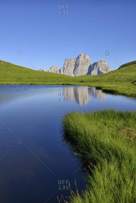 Italy- Province of Belluno- Dolomites- Selva di Cadore- Monte Pelmo reflecting in Lago delle Baste