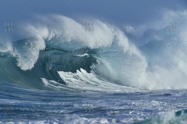 USA- Hawaii- Oahum- Pacific Ocean- big dramatic wave