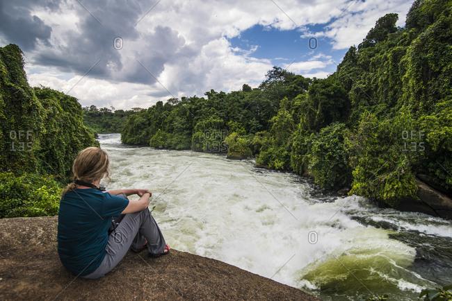 Africa- Uganda- Jinja- Tourist watching the Nile falls
