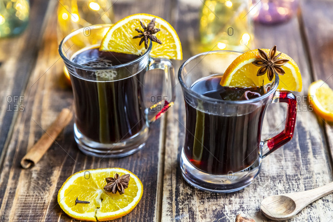 Homemade mulled beer- garnished with cinnamon and star anise