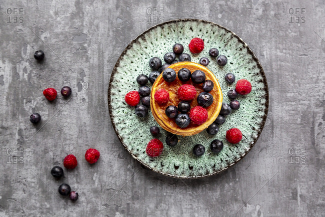 Pancakes with blueberries- raspberries and black currants
