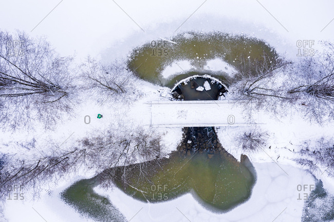 Germany- Baden-Wuerttemberg- Rems-Murr-Kreis- Swabian forest- Aerial view of forest and Herrenbach reservoir in winter