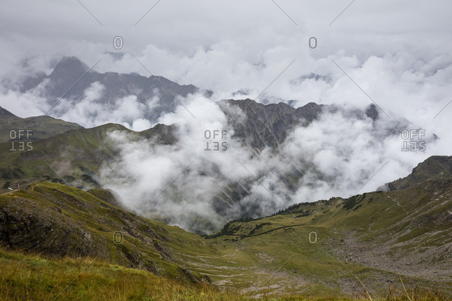 Germany- Bavaria- Allgaeu- Allgaeu Alps- View from Nebelhorn- fog and clouds