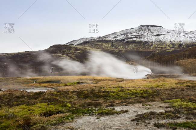 Iceland- Haukadalur valley- Geothermal site with hot spring- geyser