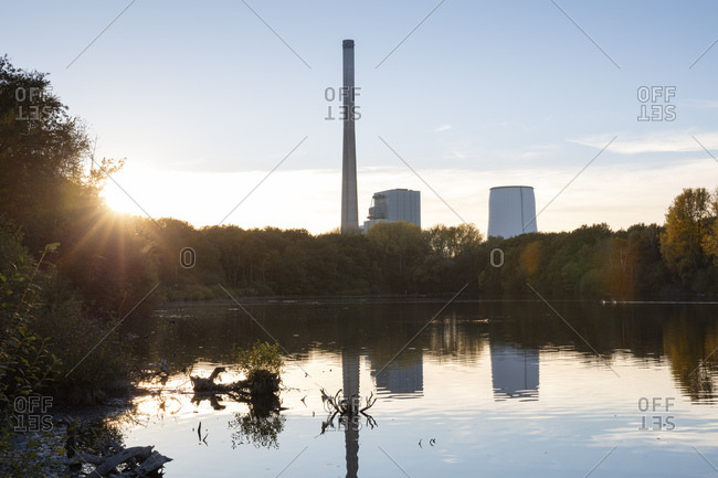 Germany- Bergkamen- Beversee- power station at sunset