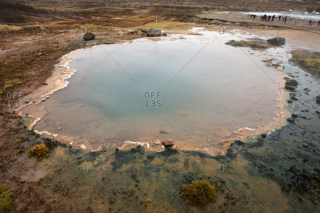 Iceland- Haukadalur valley- Geothermal site with hot spring- great geyser