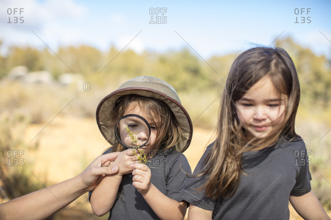 Girls examining plant with magnifying glass