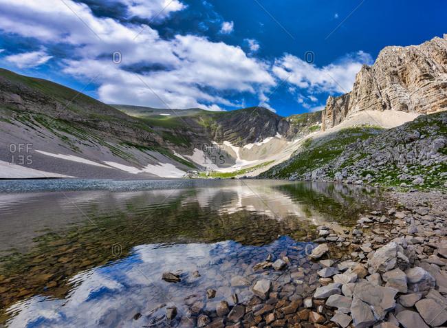 Italy- Umbria- Sibillini mountains- Lago di Pilato in summer