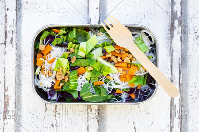 Lunch box- glass noodle salad with pak choi- carrot- red cabbage and
