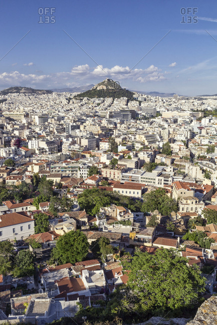Greece- Athens- view on the city and Mount Lycabettus