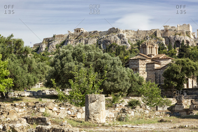 Greece- Athens- view from Ancient Agora to Acropolis and Greek Orthodox Church