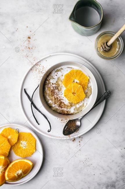 Orange Vanilla Rice Pudding with Coconut Milk