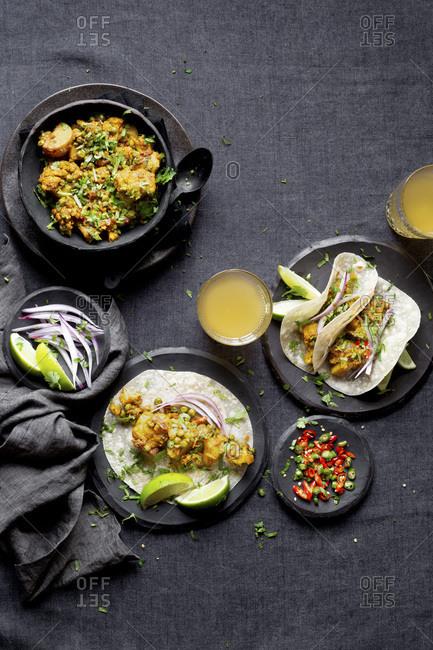 Indian Vegan Dinner - Aloo Gobi (Cauliflower, and potato) and Roti.
