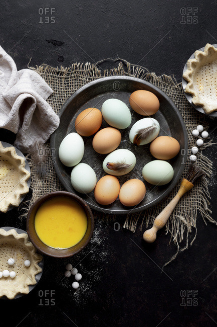 Pastry cases with eggs during cookery