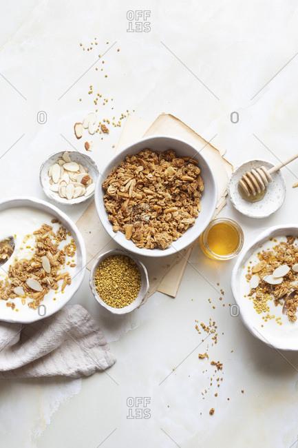 Homemade Yogurt and granola breakfast