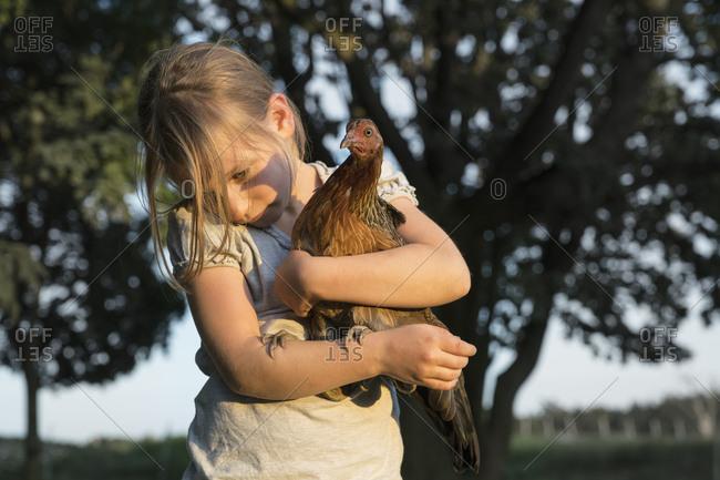 Girl holding Bush Hen on farm