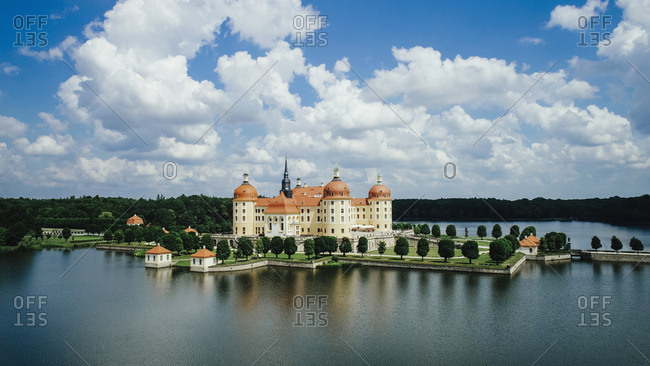 Scenic view Moritzburg Castle and Lakes, Saxony, Germany