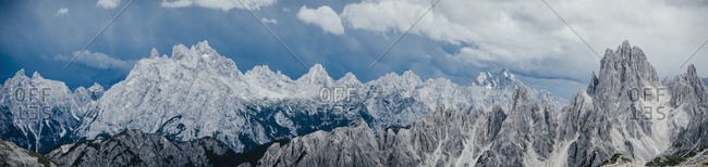 Scenic panoramic view rugged mountain peaks, Dried Zinnen Nature Park, South Tyrol, Italy