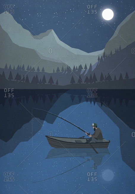 Moonlight shining over man fishing in boat on mountain lake