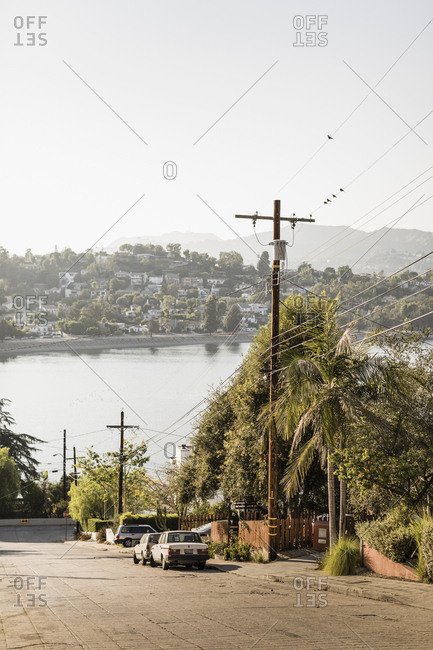 Neighborhood with sunny lake view, Los Angeles, California, USA