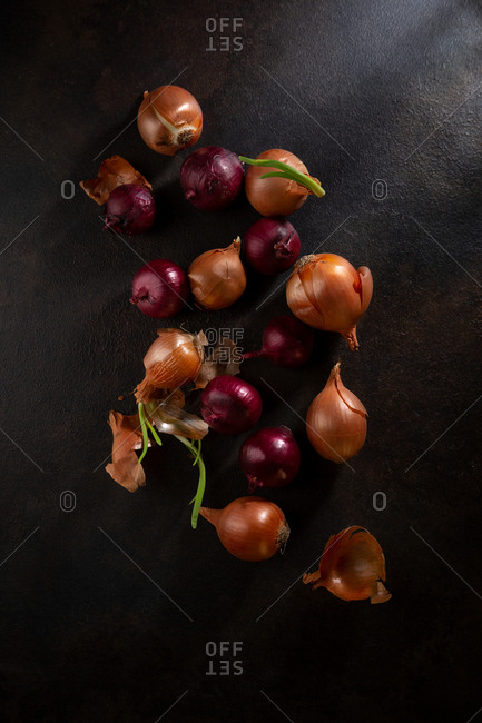 Onions on a dark table