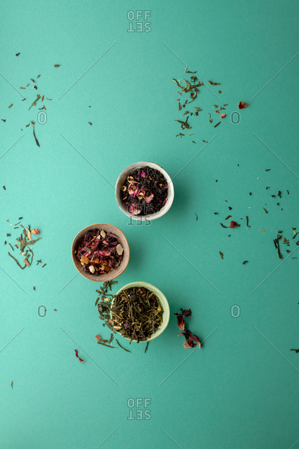 Tea leaves in bowls