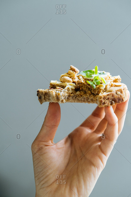 Slice of whole grain toast with peanut butter