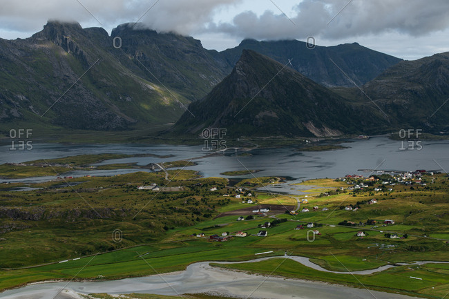 Elevated view of rural homes and mountains on the coast of the Lofoten Islands, Norway