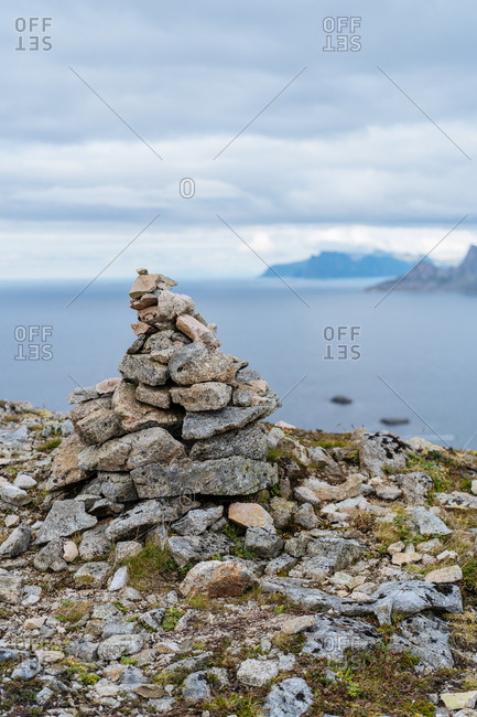 Cairn on the coast of the Lofoten Islands, Norway