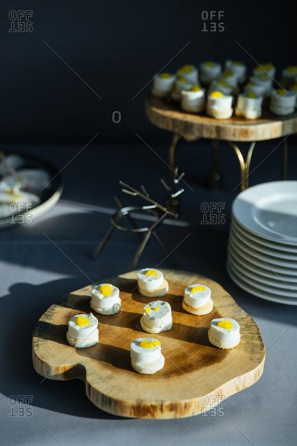 Gourmet dessert on a wooden serving board