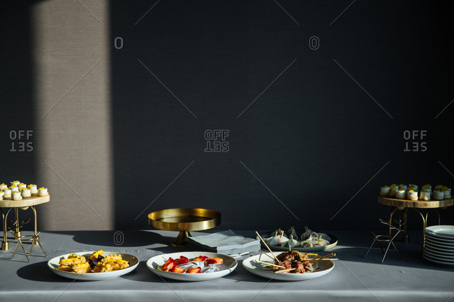 Gourmet appetizers and dessert served on a table