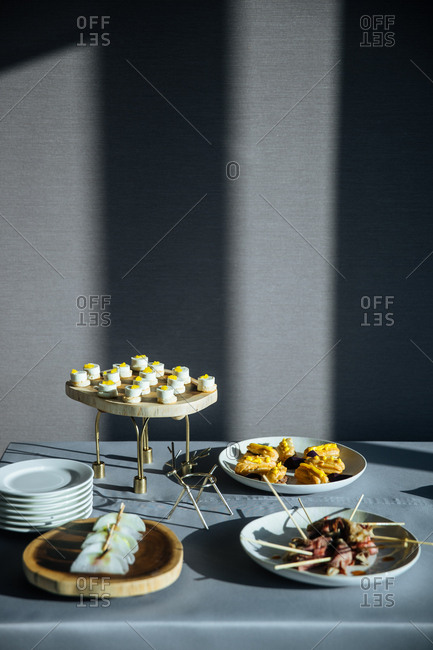 Dessert and gourmet appetizers served on a table
