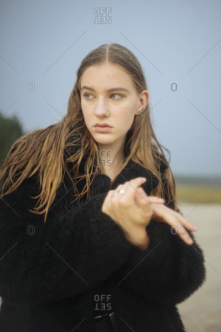 Portrait of a woman looking away