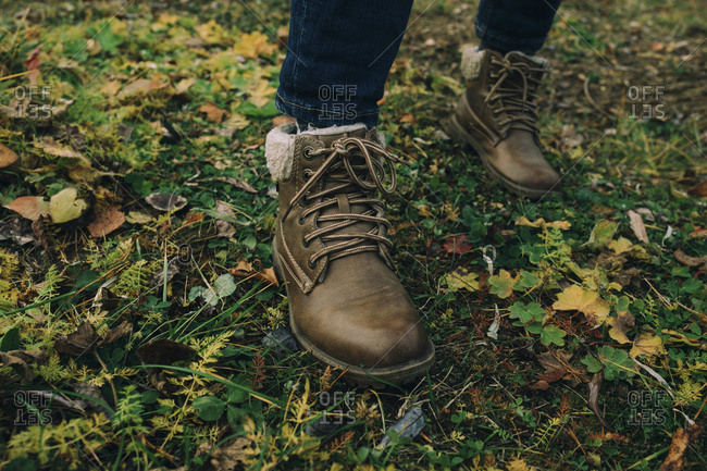 Shoes on autumn grass