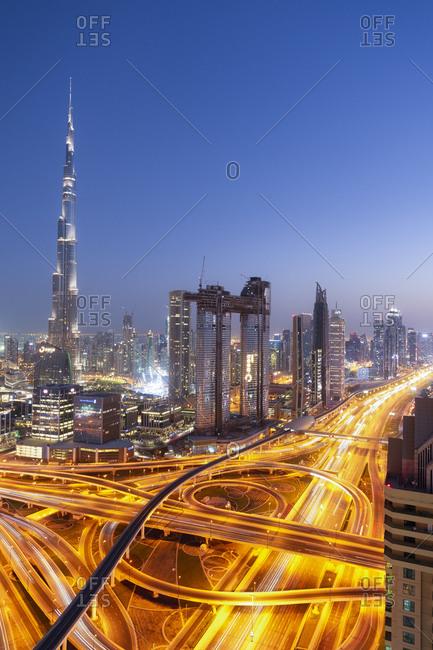 Dubai, UAE - October 12, 2018: Sheikh Zayed Road and Burj Khalifa