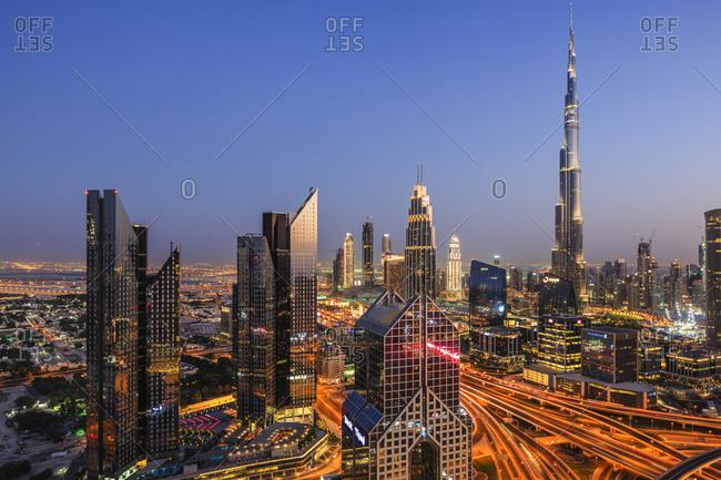 Dubai, USA - October 12, 2018: Sheikh Zayed Road and Burj Khalifa