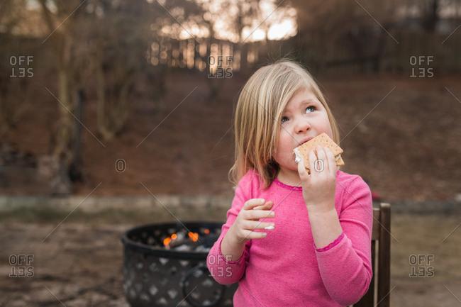 Girl enjoying smore's