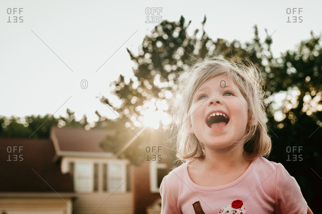 Girl screaming with joy