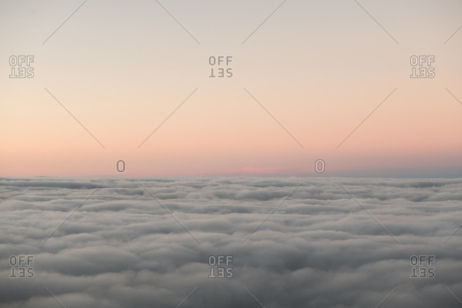 View to beautiful cloudscape and clear sky in evening light
