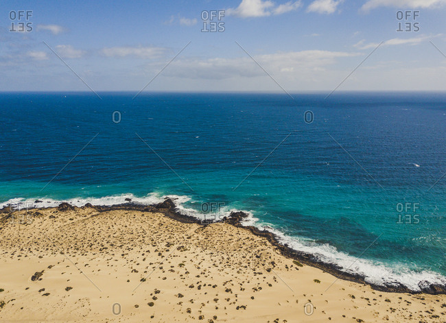 Amazing shoreline of ocean from drone