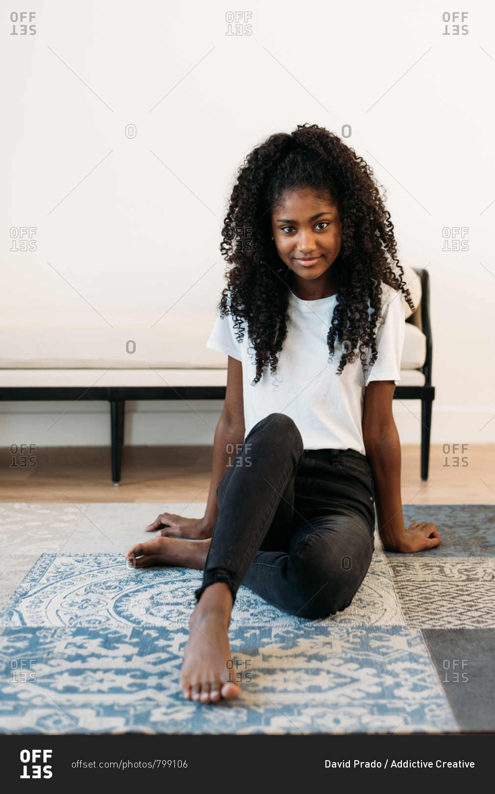 Black girl barefoot Beautiful Young Black Teenage Girl Sitting In A Rug Stock Photo Offset