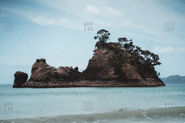 Little rock island with trees between water surface on New Chums beach, New Zealand