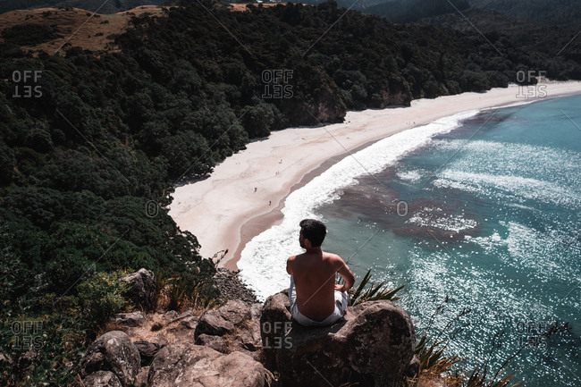 From above back view of young guy sitting looking at picturesque view of coastline with plants near water on New Chums beach, New Zealand