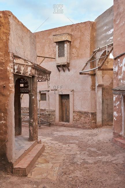 Amazing view of poor street between ancient houses in ...
